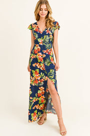 Navy Blue Floral Cap Sleeve Midi Dress - DIOR BELLA