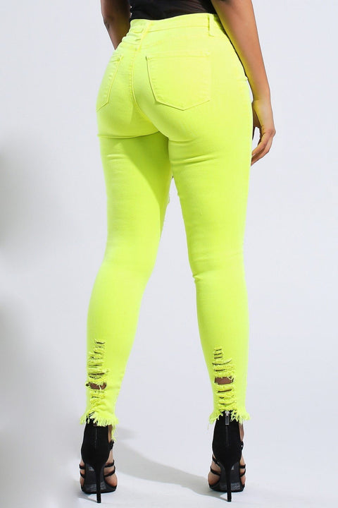 Neon Ripped High Rise Skinny Jeans - DIOR BELLA