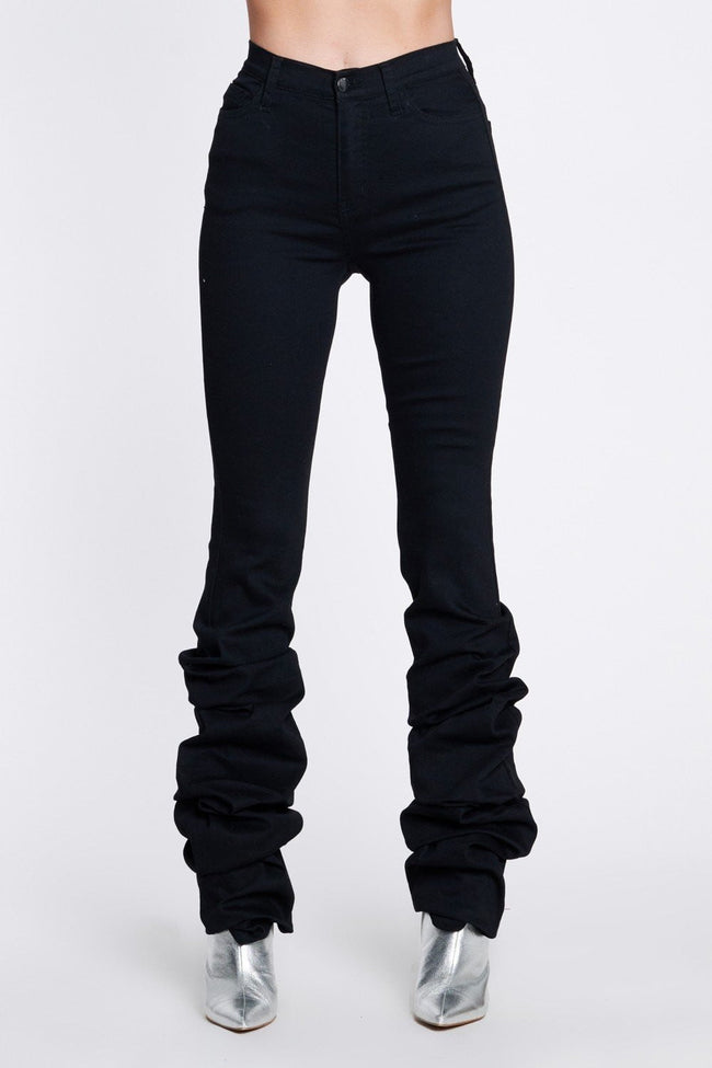 Black Scrunch Leg High Waist Jeans - DIOR BELLA