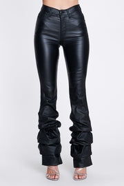 Black Scrunch Leg Faux Leather High Waist Jeans Pants - DIOR BELLA