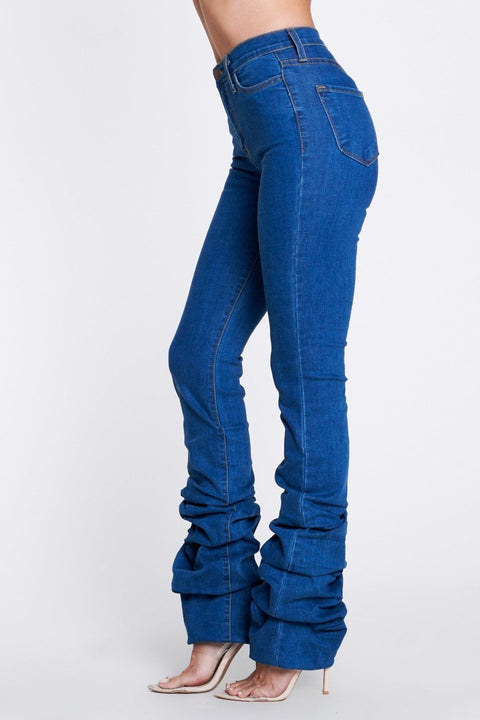 Blue Scrunch Leg High Waist Jeans - DIOR BELLA