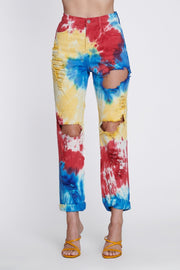 Tie-Dye Ripped Mom Jeans - DIOR BELLA