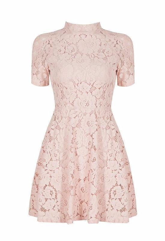 mock Neck Lace Skater Mini Dress - DIOR BELLA