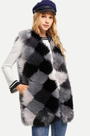 Gray Multi Color Block Faux Fur Vest - DIOR BELLA