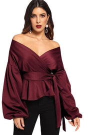 Burgundy Off Shoulder Buff Sleeve Blouse - DIOR BELLA