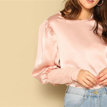 Pink Satin Puff Long Sleeve Blouse - DIOR BELLA