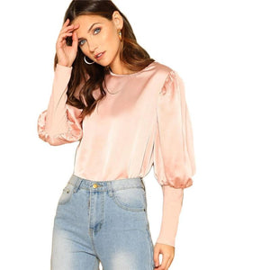 Pink Satin Puff Long Sleeve Blouse