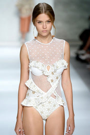 White And Gold Lace One Piece Swimsuit - DIOR BELLA