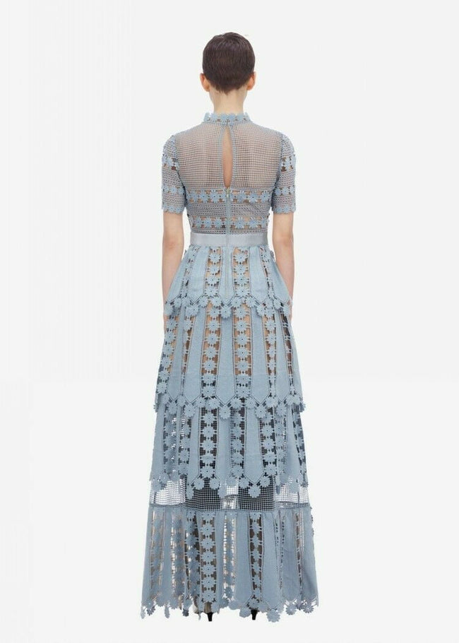 Light Blue Teardrop Lace Maxi Dress - DIOR BELLA
