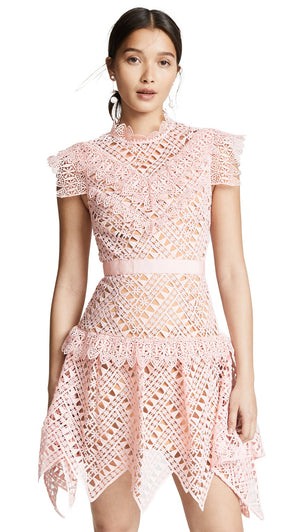 Pink Triangle Lace Mini Dress