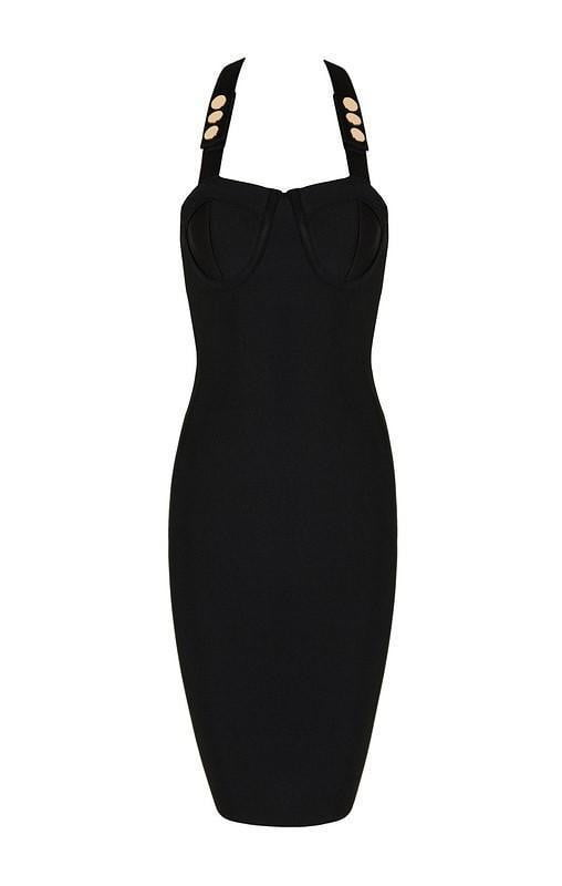 Black X-Open Back Bandage Dress - DIOR BELLA