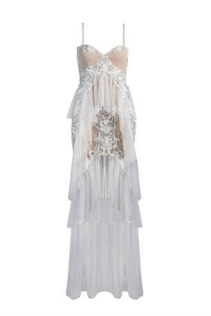 White Ruffle Embroidered Tulle And Lace Maxi Dress - DIOR BELLA