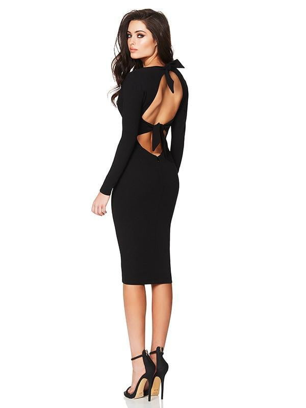 Open Back Long Sleeve Bandage Dress - DIOR BELLA