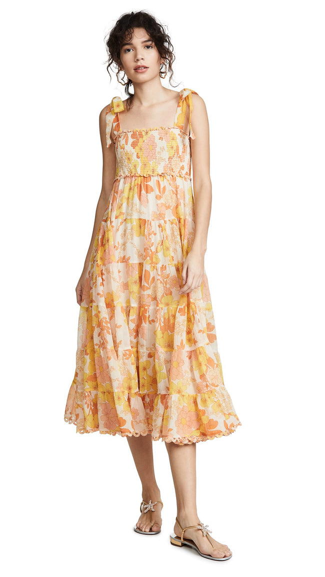 Primrose Chiffon Tie-Shoulder Midi Dress - DIOR BELLA