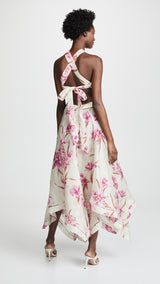 Pink Floral Halter Cutout Side Midi Dress