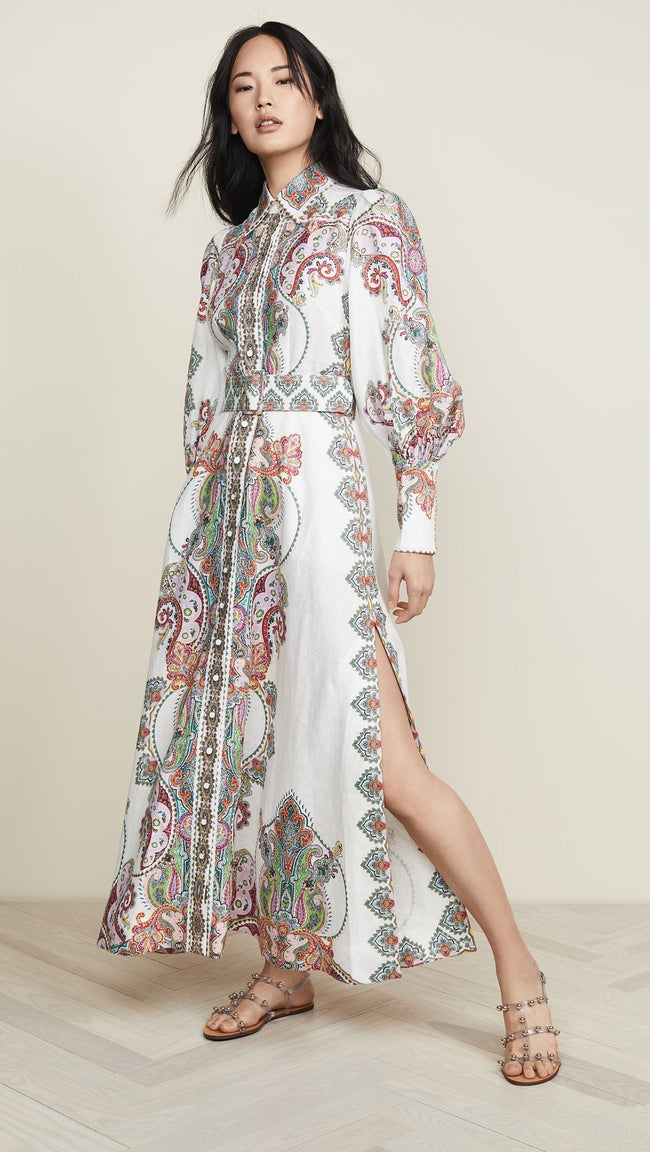 Ivory Paisley Print Belted Maxi Dress - DIOR BELLA