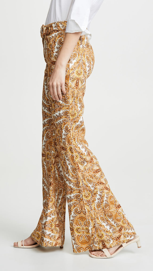 Yellow Paisley Print Wide Leg Pants - DIOR BELLA