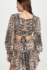 Animal Print Chiffon Cutout Mini Dress - DIOR BELLA