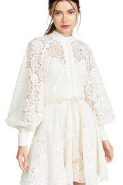 Cream Lace Puff Sleeves Mini Dress - DIOR BELLA