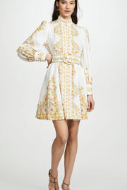 Spring Floral Long Sleeve Mini Dress