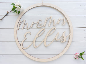 Mr and Mrs Personalised Circle Sign