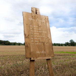 Wedding Order Of Events Sign Hire