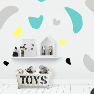 Organic Shapes Wall Stickers/Decals - Mint, Grey, Yellow, Black