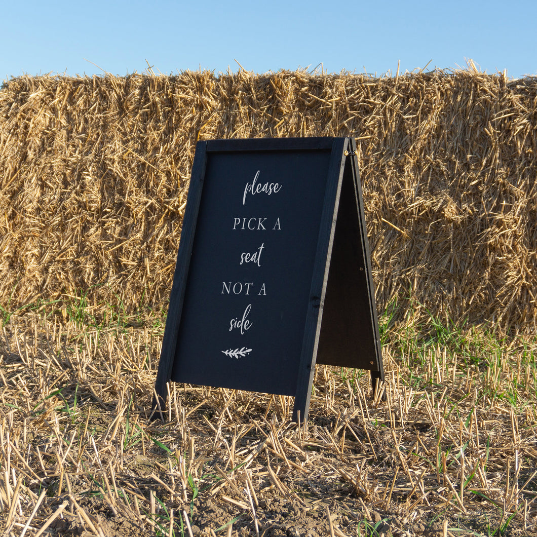 Rustic Pick A Seat Wedding Sign Sticker