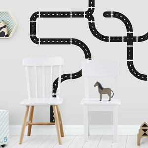 Close Up Road Wall Stickers in Black