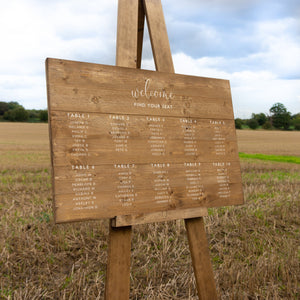 Wedding Seating Plan Sign Hire