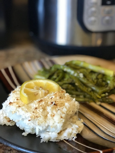 Instant Pot Lemon Coconut Crusted Cod & Garlic Asparagus