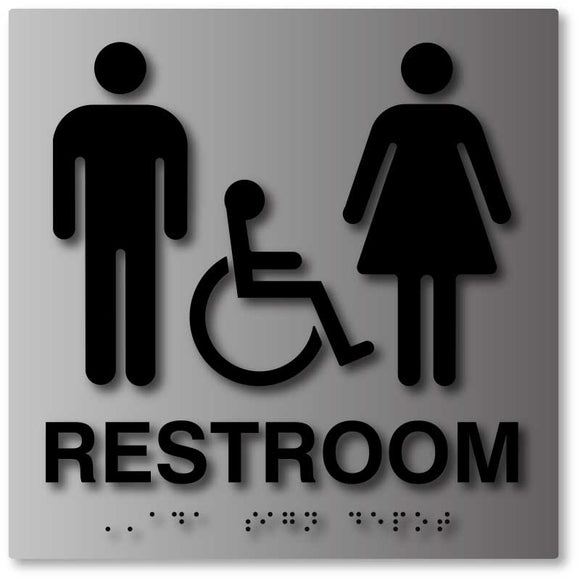 ADA Unisex Restroom Sign in Brushed Aluminum from ADA Sign Depot