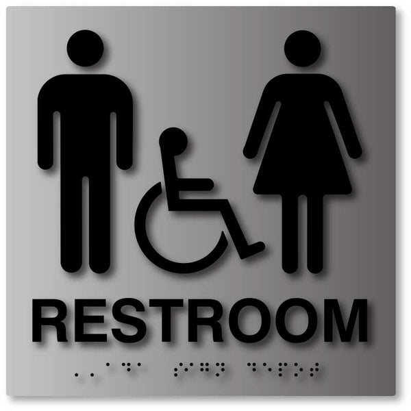 ADA Compliant Unisex Bathroom Signs in Brushed Aluminum