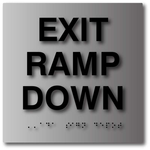 Exit and Entrance Brushed Aluminum ADA Signs