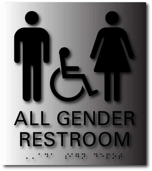 Restroom and Bathroom Brushed Aluminum ADA Signs