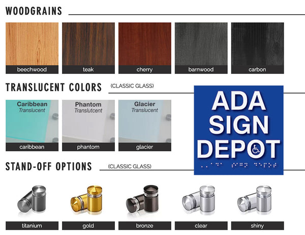 ADA Sign Depot's Class Glass ADA Signage options chart