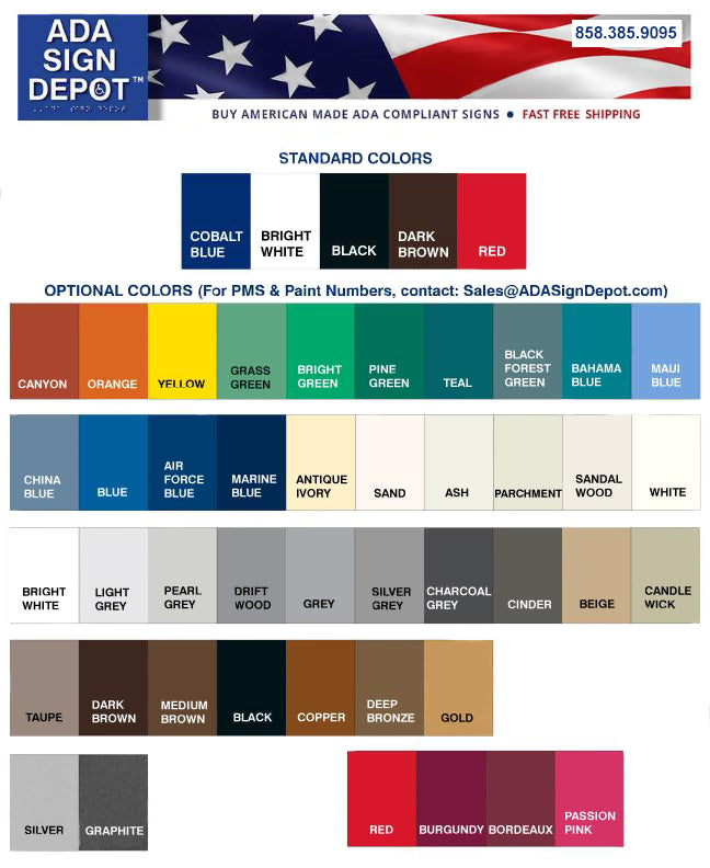 ADA Signs Color Chart