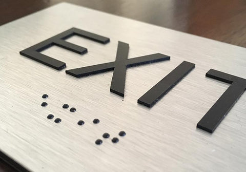 BAL-1005 Brushed Aluminum Tactile Braille Exit Sign