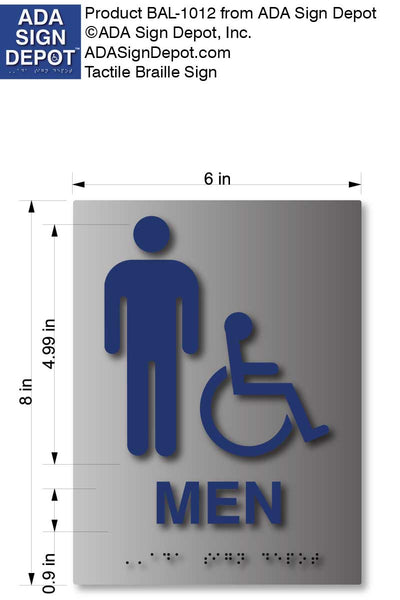 BAL-1012 Mens Wheelchair Accessible Restroom Braille Sign