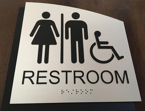 BAL-1114 Unisex Wheelchair Bathroom Sign on Brushed Aluminum