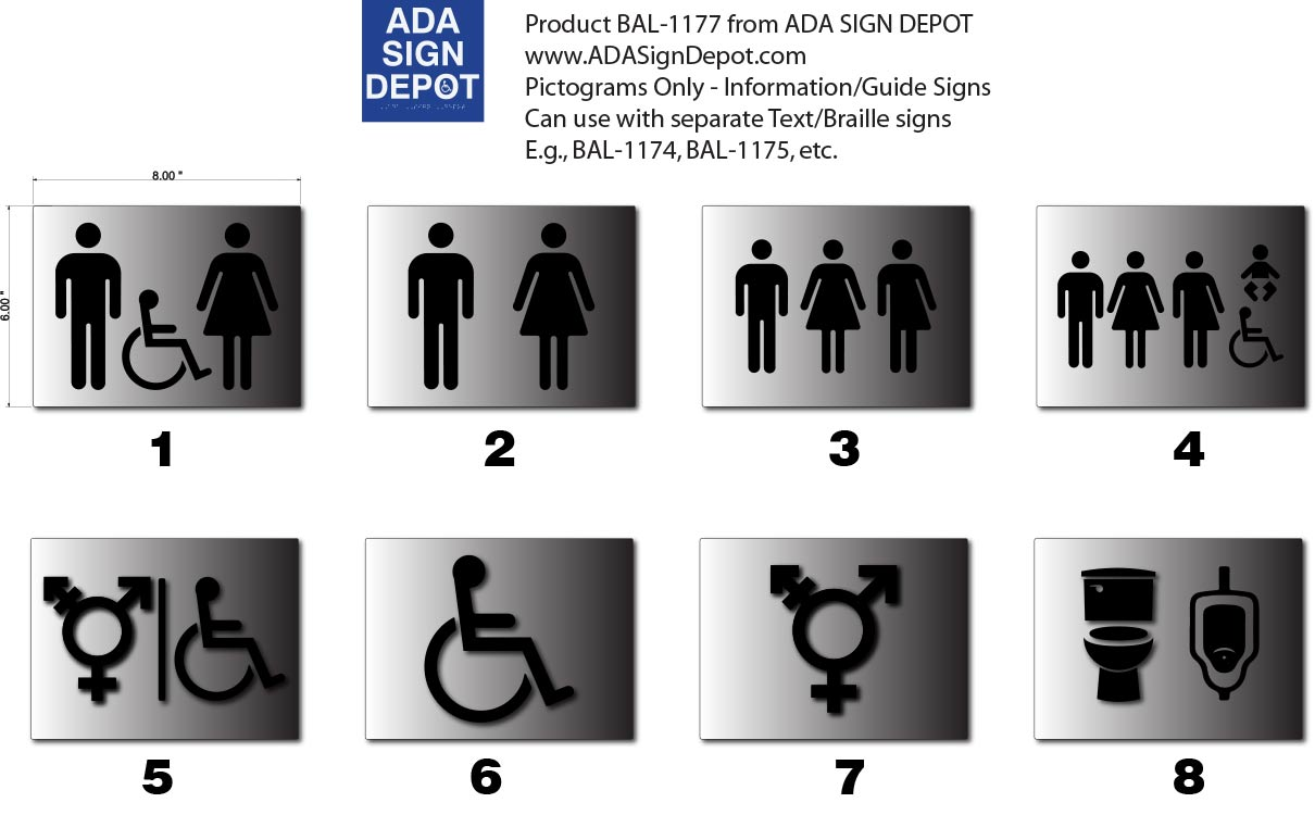 Brushed Aluminum gender symbol-only bathroom signs in custom colors