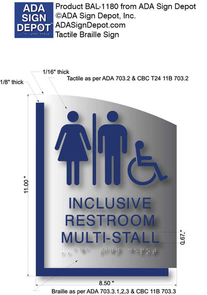 BAL-1180 Multi-Stall Restroom ADA Sign
