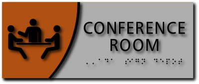 modern design ada compliant conference room signs in brushed