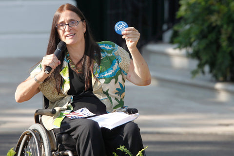 Marca Bristo speaking at a White House event in 2010 marking the 20th anniversary of the Americans with Disabilities Act. She was a longtime leader in the fight to address the needs of the disabled