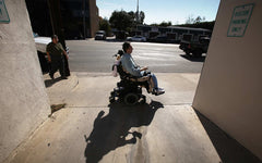 Office of Disability Policy blog post, man using motorized wheelchair