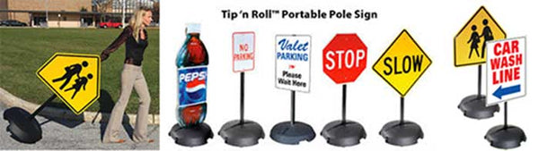 Tip and Roll Sign Stand System