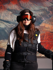 woman wearing an age-simulation suit