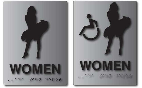 Marilyn Monroe Bathroom Signs in Brushed Aluminum © ADA Sign Depot