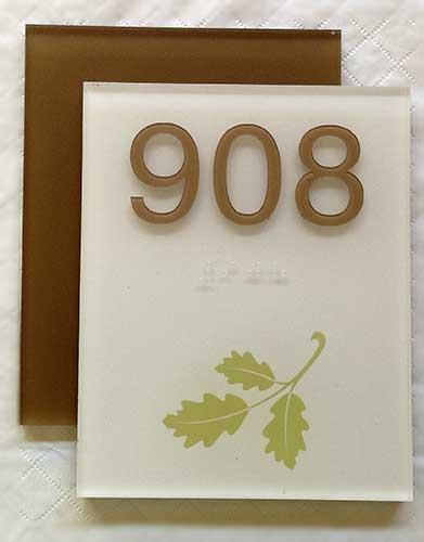 Full Color Digitally Printed Room Number Sign with Leaf
