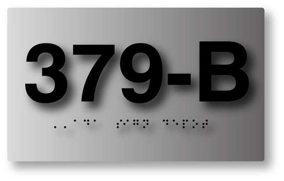 BAL-1003 Custom Tactile Braille Room Number ADA Signs in Brushed Aluminum - Black